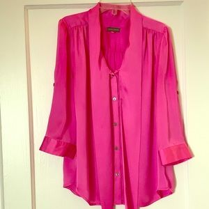 Women's Pink Tie Neck Blouse